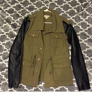 Jackets & Coats - Green Khaki & Black Leather Army Fatigue Jacket